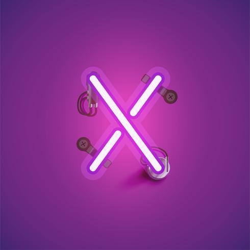 Personnage de néon réaliste rose avec fils et console à partir d'un jeu de polices, illustration vectorielle vecteur