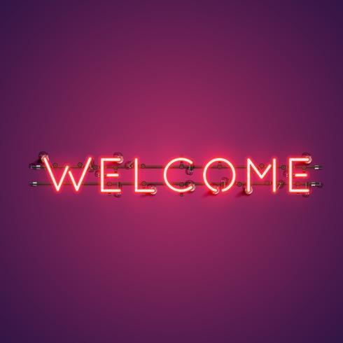 Parola al neon realistico 'BENVENUTO' per la pubblicità, illustrazione vettoriale