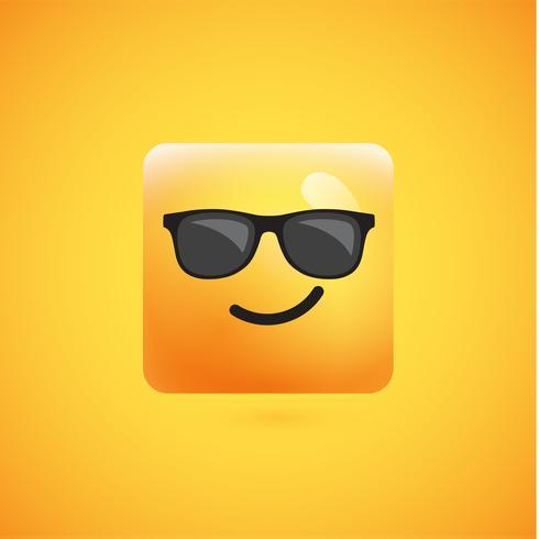 Haut émoticône carré jaune détaillé sur fond jaune, illustration vectorielle