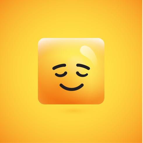 Alta emoticon gialla dettagliata dettagliata su un fondo giallo, illustrazione di vettore