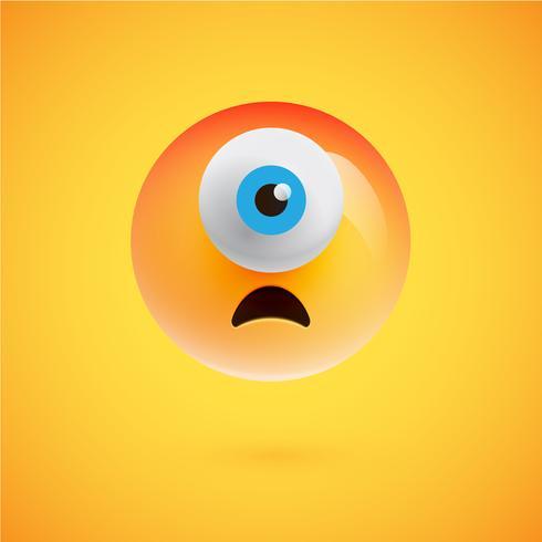 Eenogige high-gedetailleerde emoticon, vectorillustratie