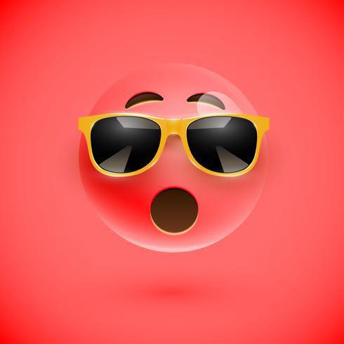 Smiley 3D haute-détaillé avec lunettes de soleil sur un fond coloré, illustration vectorielle vecteur