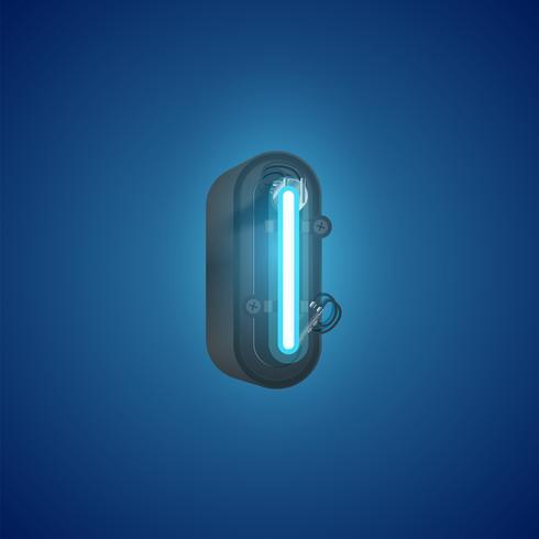 Carattere al neon realistico da un insieme con la console, illustrazione di vettore