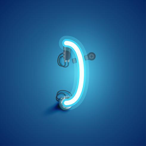 Caractère de néon réaliste bleu avec fils et console à partir d'un jeu de polices, illustration vectorielle vecteur