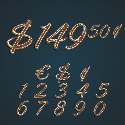 Dinheiro de couro realista e conjunto de números, ilustração vetorial