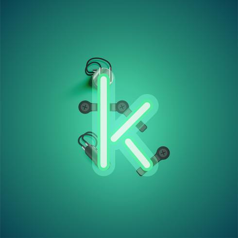 Personnage néon réaliste vert avec fils et console à partir d'un jeu de polices, illustration vectorielle vecteur