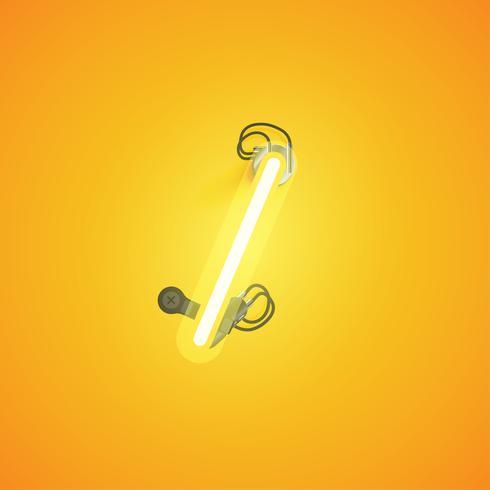 Personnage néon réaliste jaune avec fils et console à partir d'un jeu de polices, illustration vectorielle vecteur
