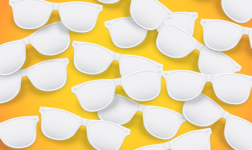 Occhiali da sole bianchi in bianco su sfondo giallo, illustrazione vettoriale