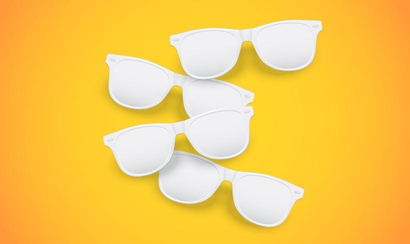 Lunettes de soleil blanches vierges sur fond jaune, illustration vectorielle vecteur