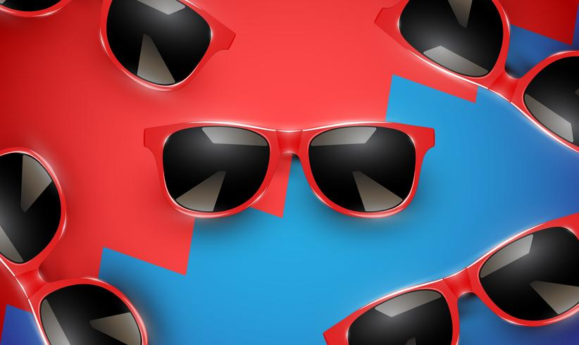 Gafas de sol vector realista en un fondo colorido, ilustración vectorial