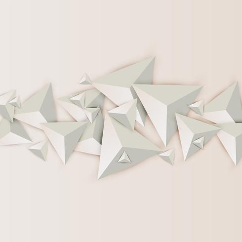 Abstract 3D triangles on light background, vector illustration