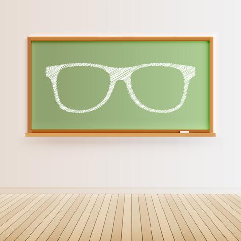 Hohe ausführliche schwarze Tafel mit Bretterboden und gezogenen Brillen, Vektorillustration