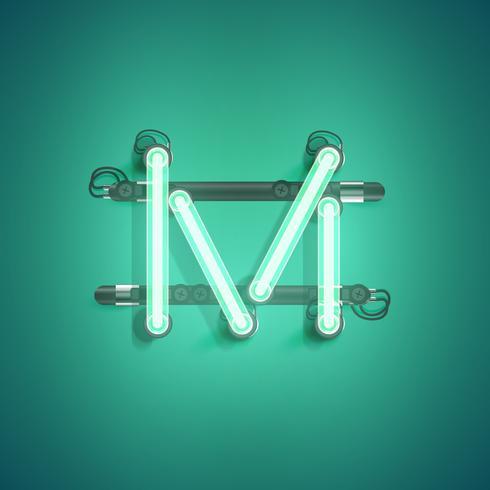 Alto carácter de neón detallada de un conjunto, ilustración vectorial vector