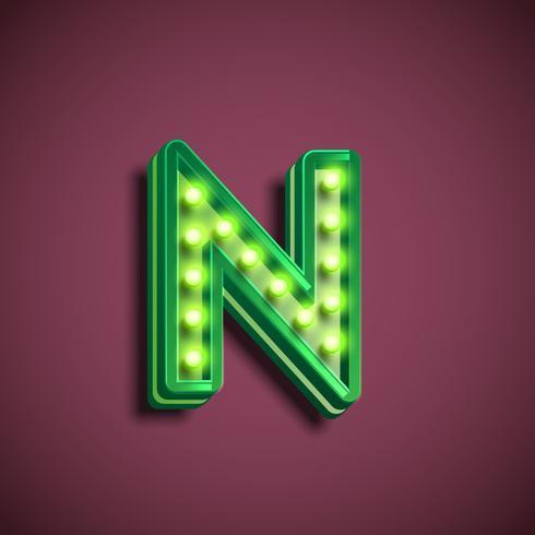 Personagem de 'Broadway' com lâmpadas de um fontset, ilustração vetorial