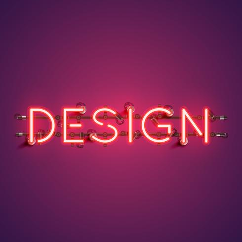 Neon realistic word 'DESIGN' for advertising, vector illustration