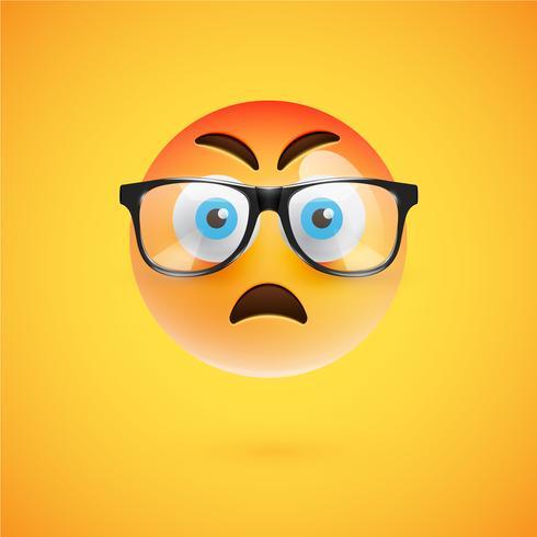 Emoticon amarelo 3D com óculos, ilustração vetorial vetor