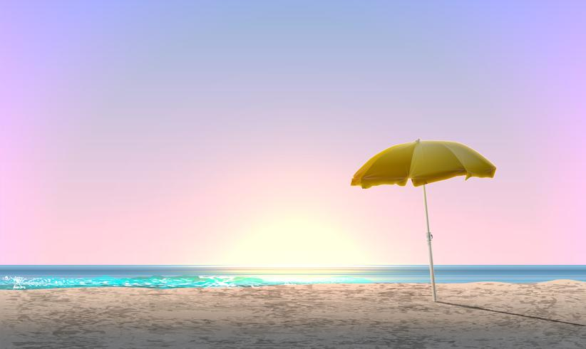 Realistic landscape of a beach with sunset / sunrise and a yellow parasol, vector illustration