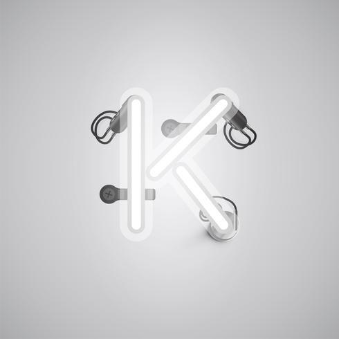 Carattere al neon realistico grigio con fili e console da un fontset, illustrazione vettoriale
