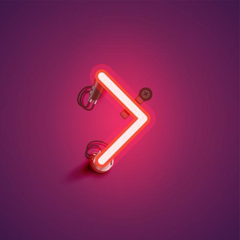 Caractère de néon réaliste rouge avec fils et console à partir d'un jeu de polices