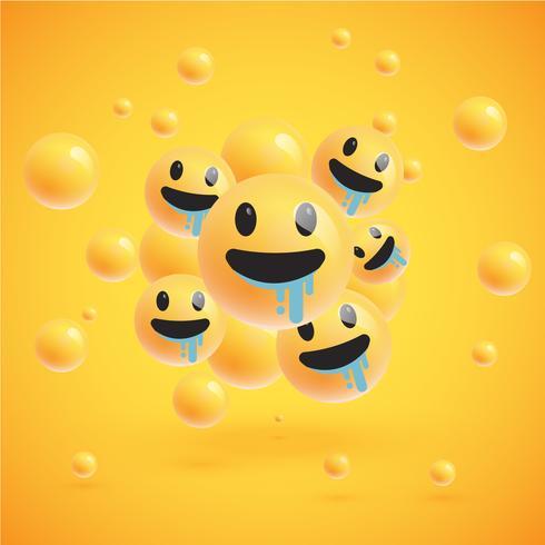 Un alto grupo detallado de emoticonos sobre un fondo amarillo, ilustración vectorial
