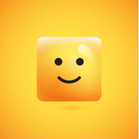 Alto detallado emoticon cuadrado amarillo sobre un fondo amarillo, ilustración vectorial