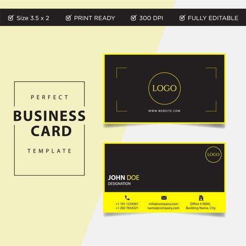 Professional Business card yellow black concept design, vector print ready