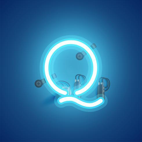 Carattere al neon realistico blu con fili e console da un fontset, illustrazione vettoriale