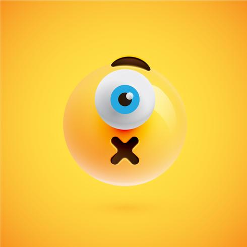 One-eyed high-detailed emoticon, vector illustration