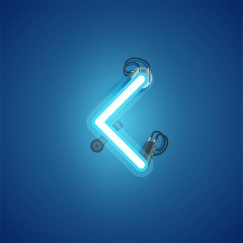 Blå realistisk neon karaktär med ledningar och konsol från en fontset, vektor illustration