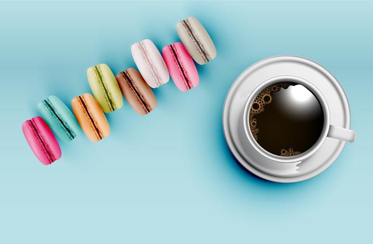 Hauts macarons colorés détaillés sur fond bleu avec une tasse de café, illustration vectorielle