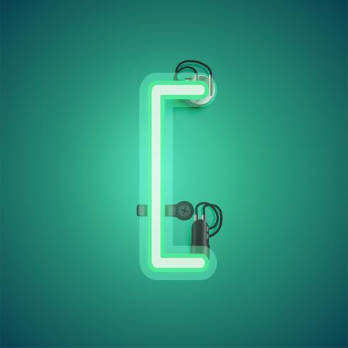 Carácter de neón realista verde con cables y consola de un conjunto de fuentes, ilustración vectorial vector