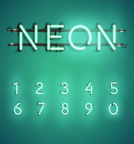 Alta serie di caratteri al neon dettagliata, illustrazione di vettore