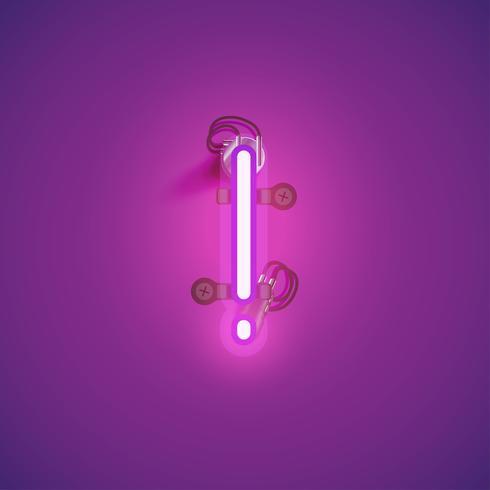 Carácter de neón realista rosa con cables y consola de un conjunto de fuentes, ilustración vectorial vector