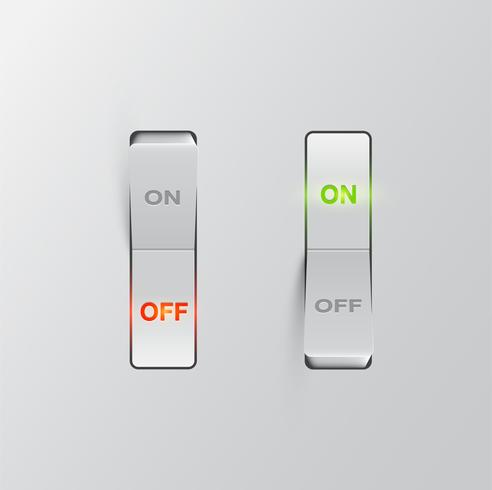 Interruptores negros realistas (ON / OFF) sobre fondo negro, ilustración vectorial