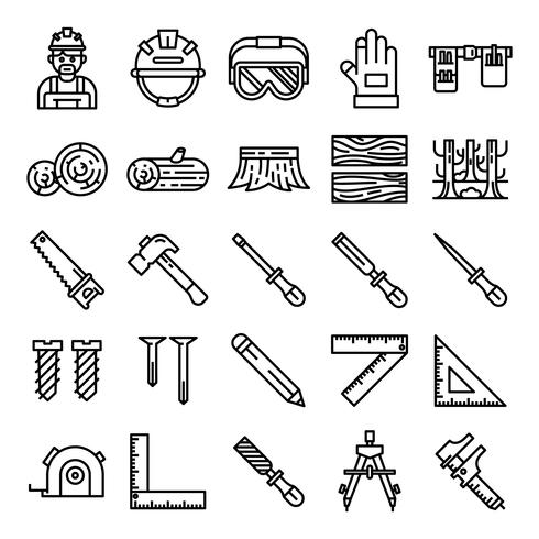 Timmerman pictogrammen pack vector