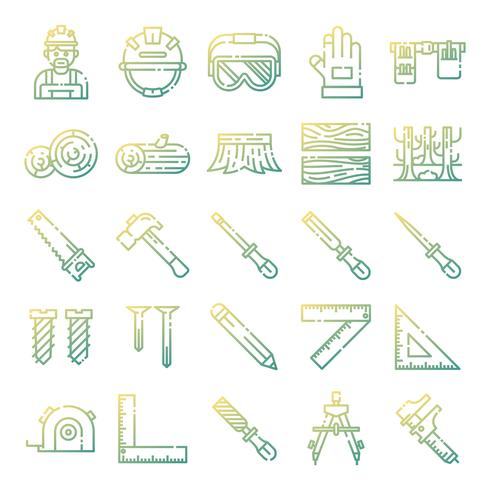 Carpenter icons pack vector