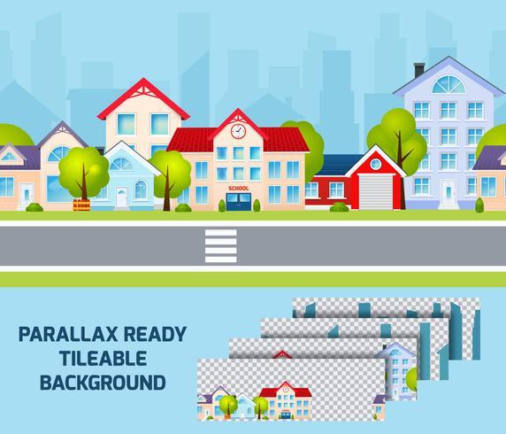 Fundo de efeito de paralaxe de luz do dia de paisagem urbana tileable