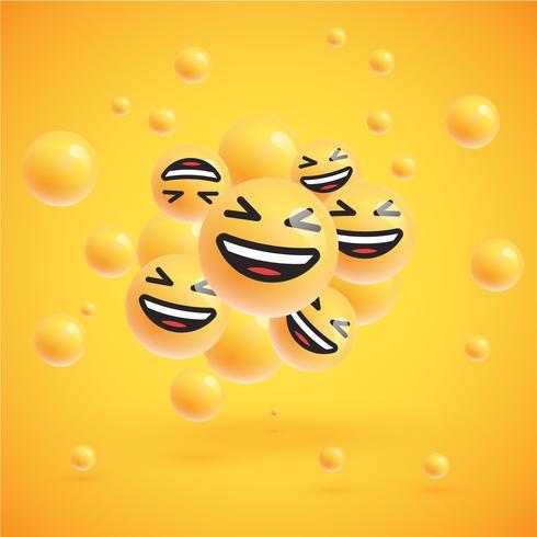 Un alto grupo detallado de emoticonos sobre un fondo amarillo, ilustración vectorial vector
