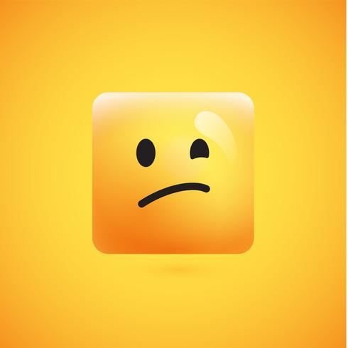 Alto detallado emoticon cuadrado amarillo sobre un fondo amarillo, ilustración vectorial vector
