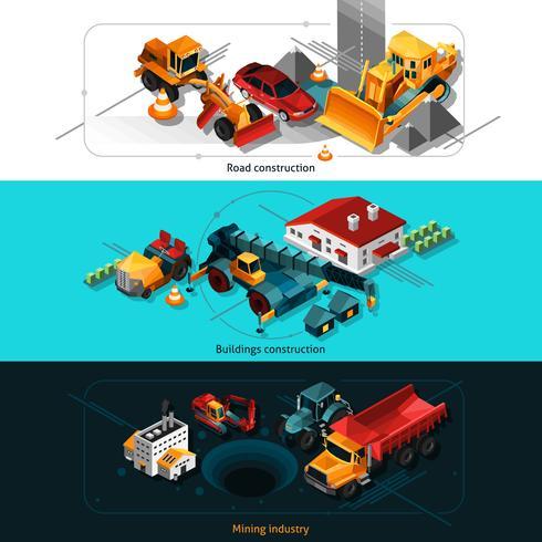 Bannières de machines de construction isométriques vecteur