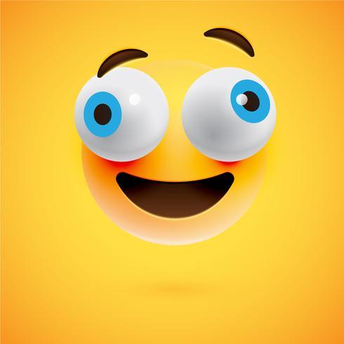 Émoticône jaune réaliste devant un fond jaune, illustration vectorielle