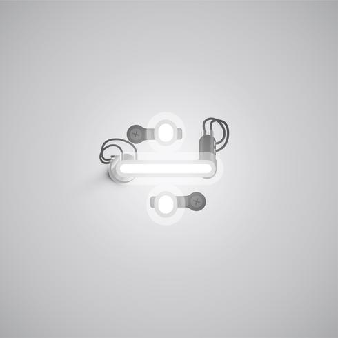 Personnage gris néon réaliste avec fils et console à partir d'un jeu de polices, illustration vectorielle