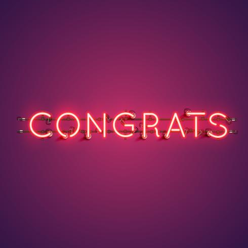 Neon realistic word 'CONGRATS' for advertising, vector illustration