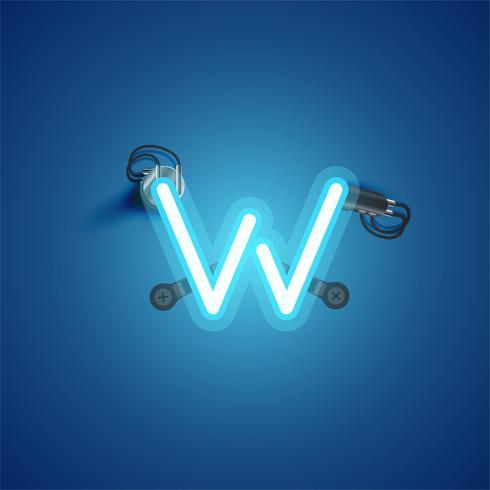 Carácter de neón realista azul con cables y consola de un conjunto de fuentes, ilustración vectorial vector