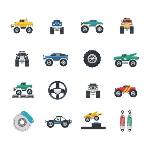 conjunto de iconos de monster truck vector