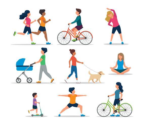Personas que realizan diversas actividades al aire libre, aisladas. Correr, en bicicleta, en scooter, pasear al perro, hacer ejercicio, meditar, caminar con un cochecito de bebé. Ilustración de vector de estilo de vida saludable.