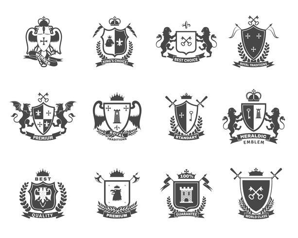 Conjunto de emblemas de qualidade premium heráldico