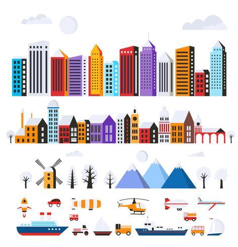 Set av stadsplanbyggnader