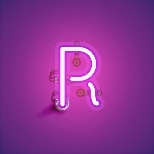 Rosa realistisk neon karaktär med ledningar och konsol från en fontset, vektor illustration