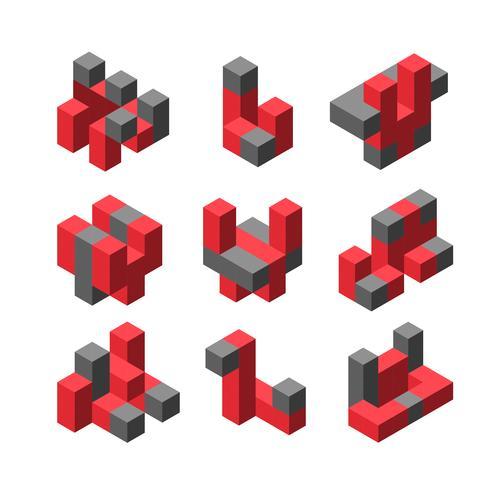 Logo isométrique abstrait en trois dimensions